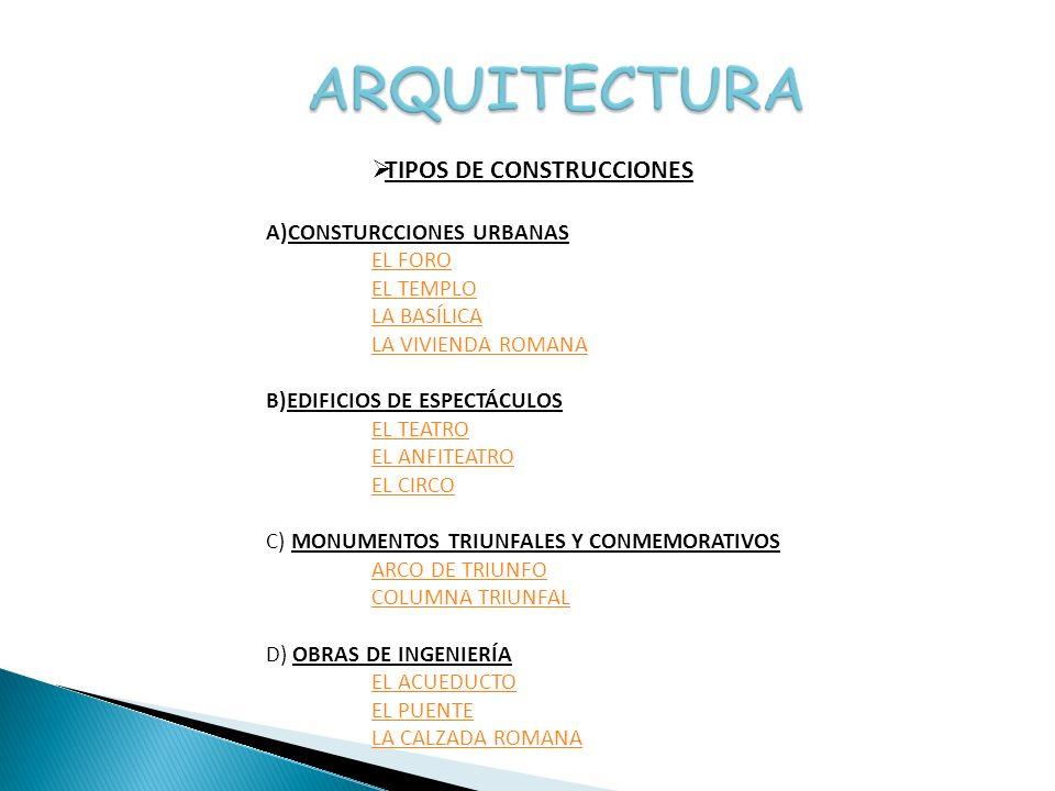 ARQUITECTURA TIPOS DE CONSTRUCCIONES CONSTURCCIONES URBANAS EL FORO