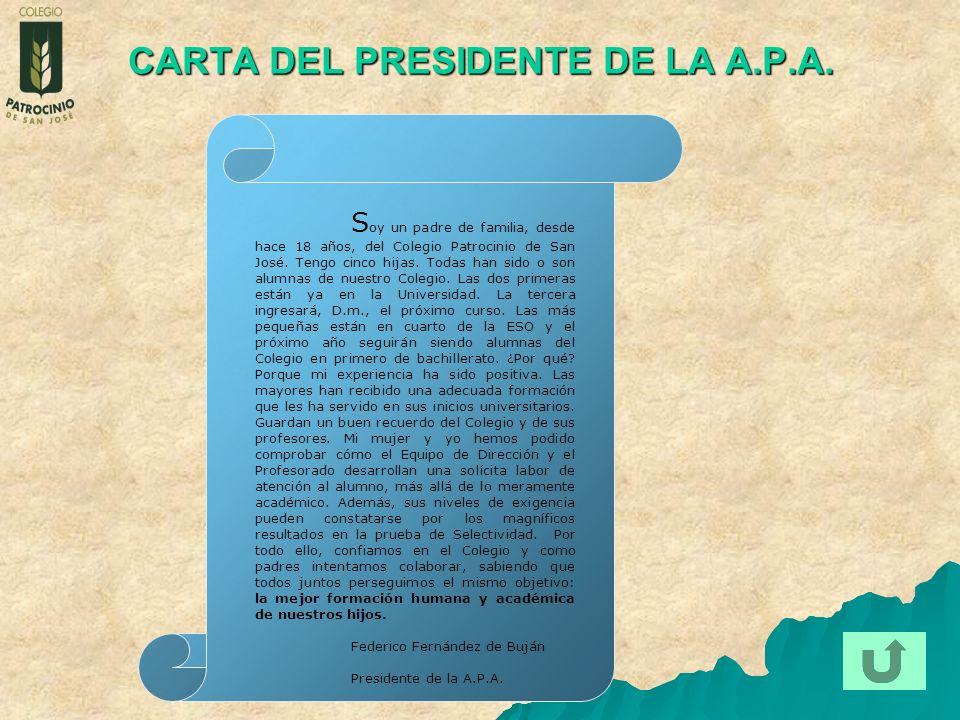 CARTA DEL PRESIDENTE DE LA A.P.A.