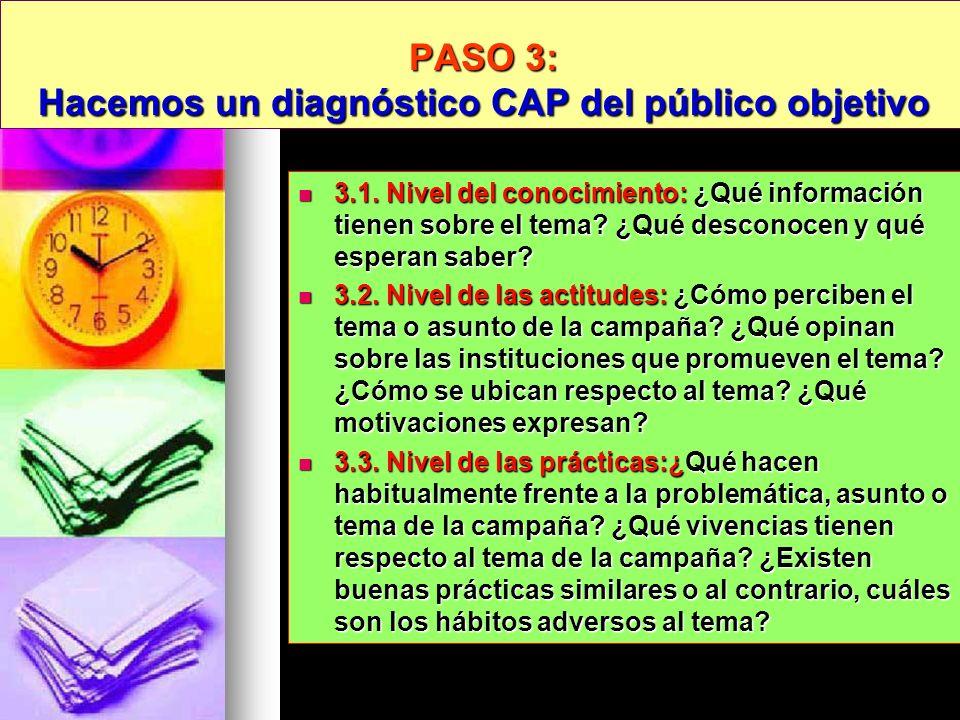 PASO 3: Hacemos un diagnóstico CAP del público objetivo