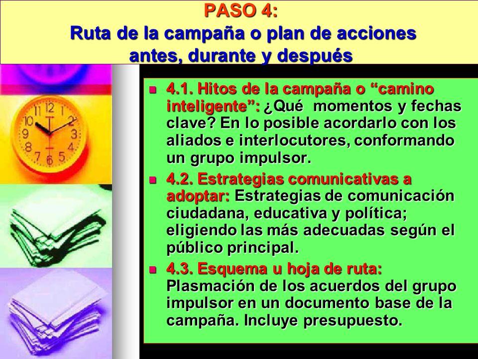 PASO 4: Ruta de la campaña o plan de acciones antes, durante y después