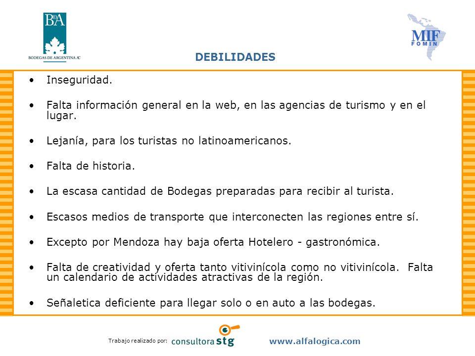DEBILIDADES Inseguridad. Falta información general en la web, en las agencias de turismo y en el lugar.