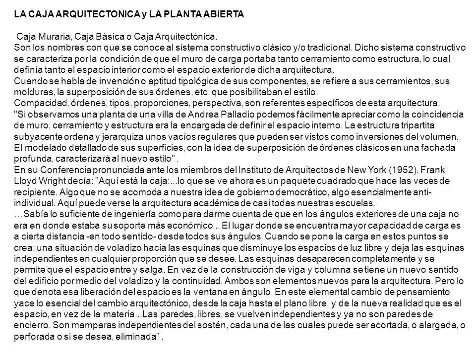 LA CAJA ARQUITECTONICA y LA PLANTA ABIERTA
