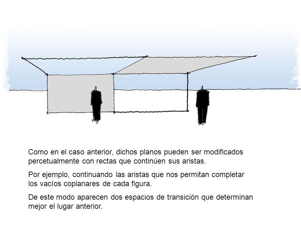 Como en el caso anterior, dichos planos pueden ser modificados percetualmente con rectas que continúen sus aristas.