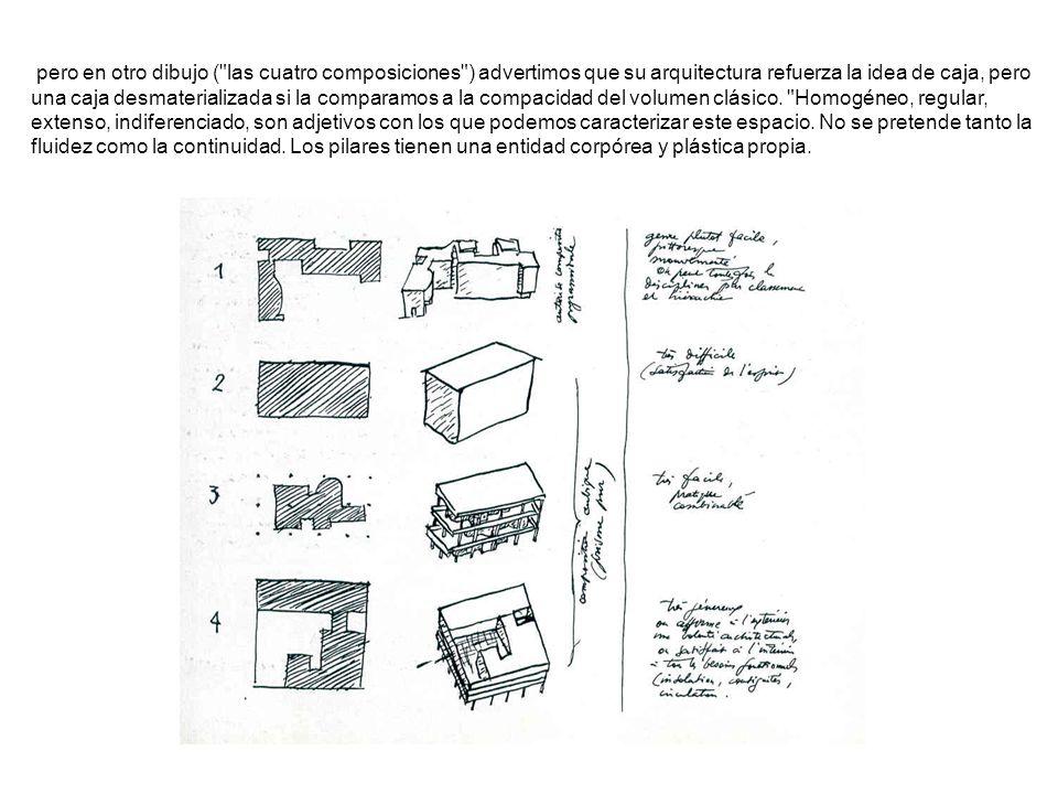 pero en otro dibujo ( las cuatro composiciones ) advertimos que su arquitectura refuerza la idea de caja, pero una caja desmaterializada si la comparamos a la compacidad del volumen clásico.