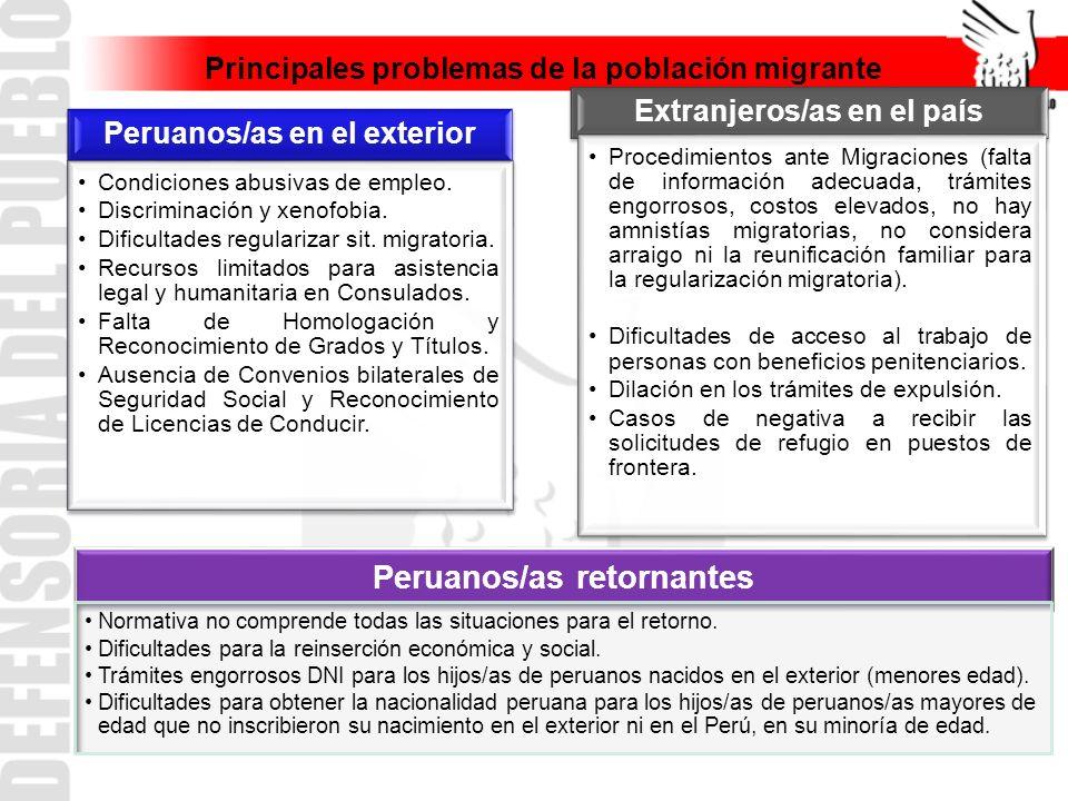 Principales problemas de la población migrante