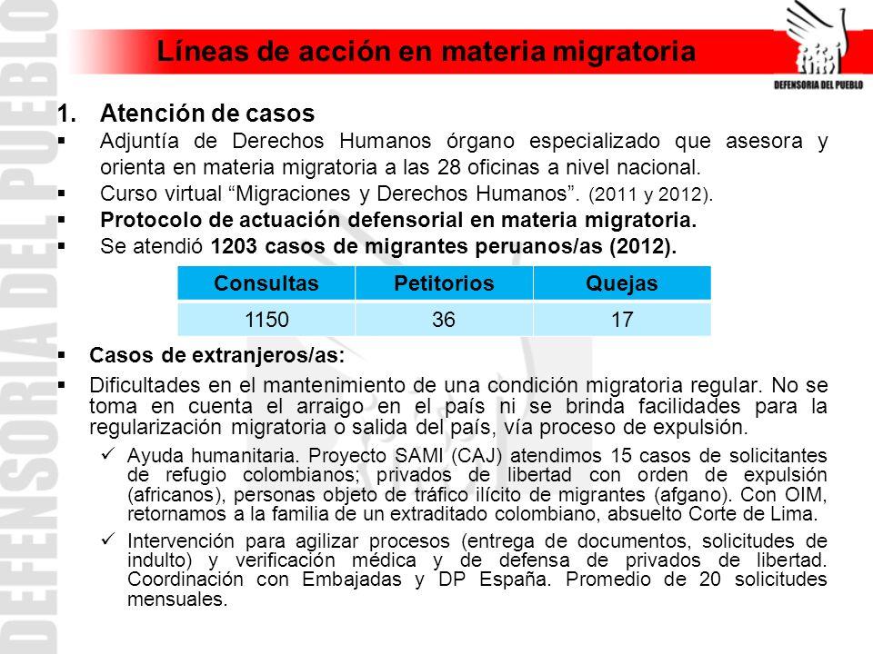 Líneas de acción en materia migratoria