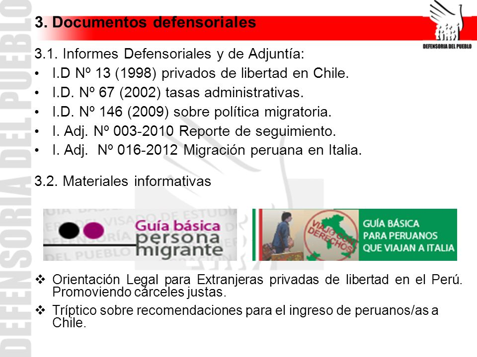 3. Documentos defensoriales