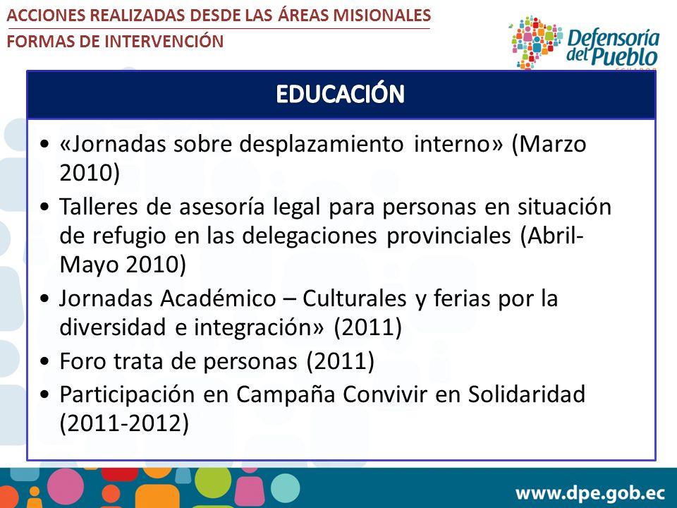 «Jornadas sobre desplazamiento interno» (Marzo 2010)
