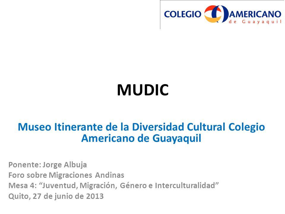 MUDIC Museo Itinerante de la Diversidad Cultural Colegio Americano de Guayaquil. Ponente: Jorge Albuja.