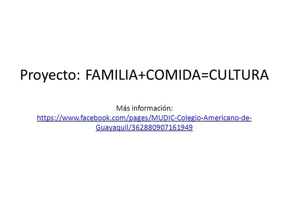Proyecto: FAMILIA+COMIDA=CULTURA Más información: https://www.facebook.com/pages/MUDIC-Colegio-Americano-de-Guayaquil/362880907161949