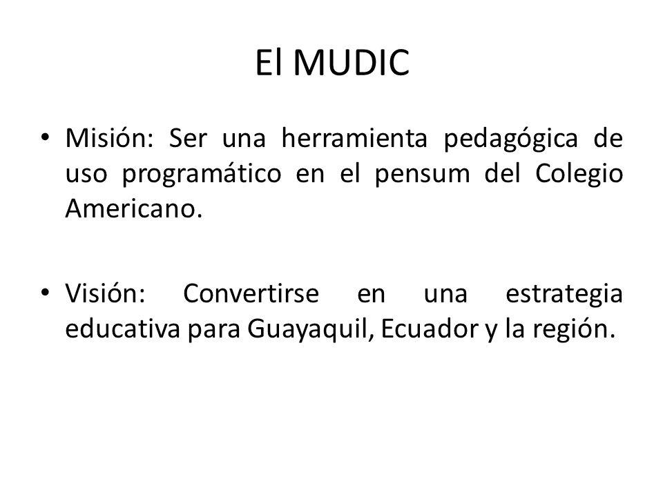 El MUDIC Misión: Ser una herramienta pedagógica de uso programático en el pensum del Colegio Americano.