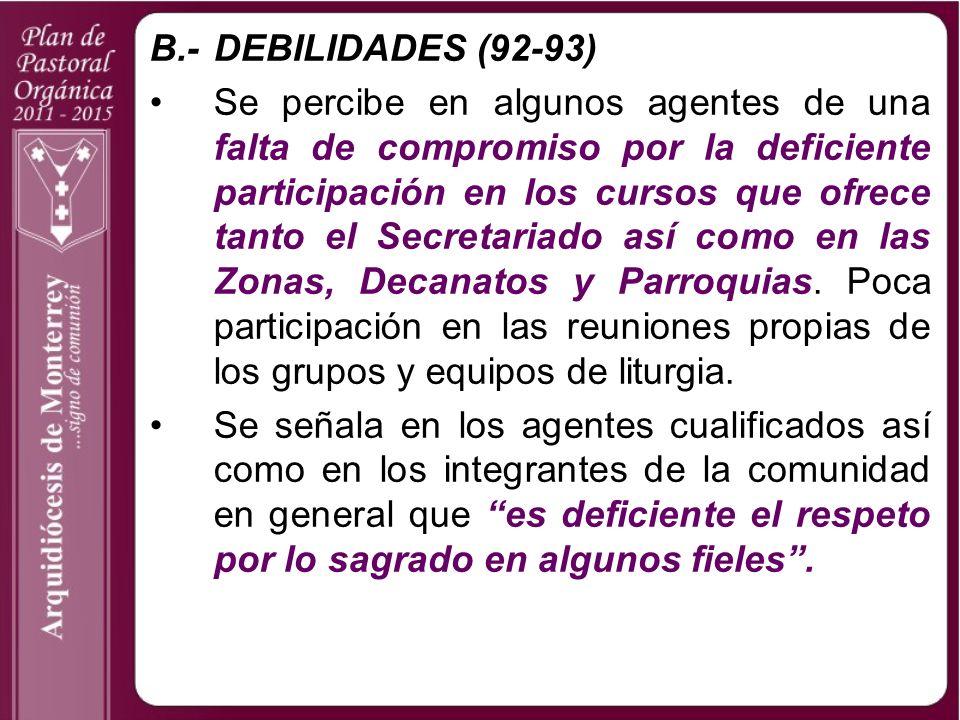 B.- DEBILIDADES (92-93)