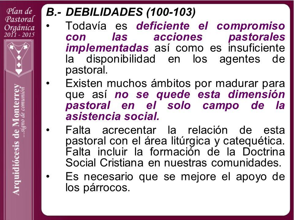 B.- DEBILIDADES (100-103)