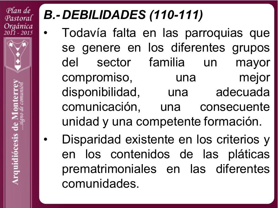 B.- DEBILIDADES (110-111)