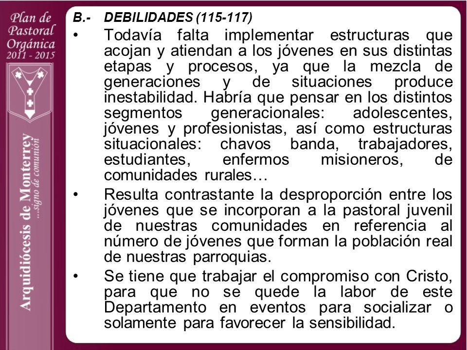B.- DEBILIDADES (115-117)
