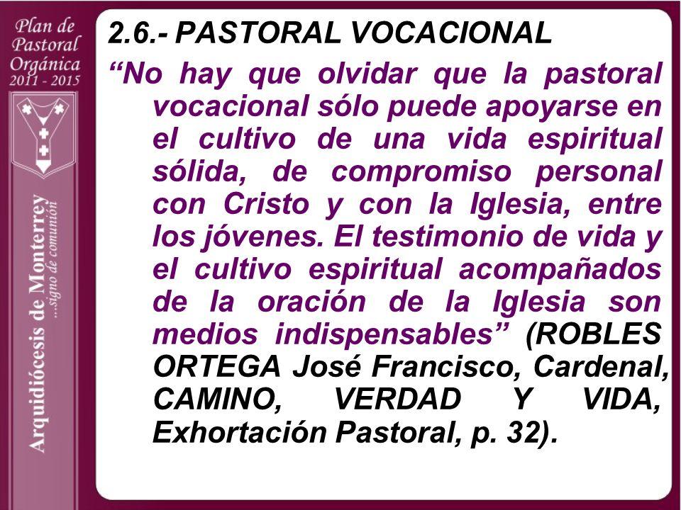 2.6.- PASTORAL VOCACIONAL