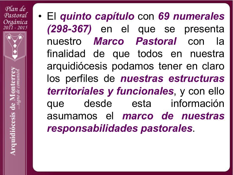 El quinto capítulo con 69 numerales (298-367) en el que se presenta nuestro Marco Pastoral con la finalidad de que todos en nuestra arquidiócesis podamos tener en claro los perfiles de nuestras estructuras territoriales y funcionales, y con ello que desde esta información asumamos el marco de nuestras responsabilidades pastorales.
