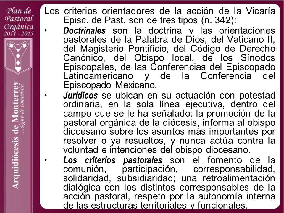 Los criterios orientadores de la acción de la Vicaría Episc. de Past