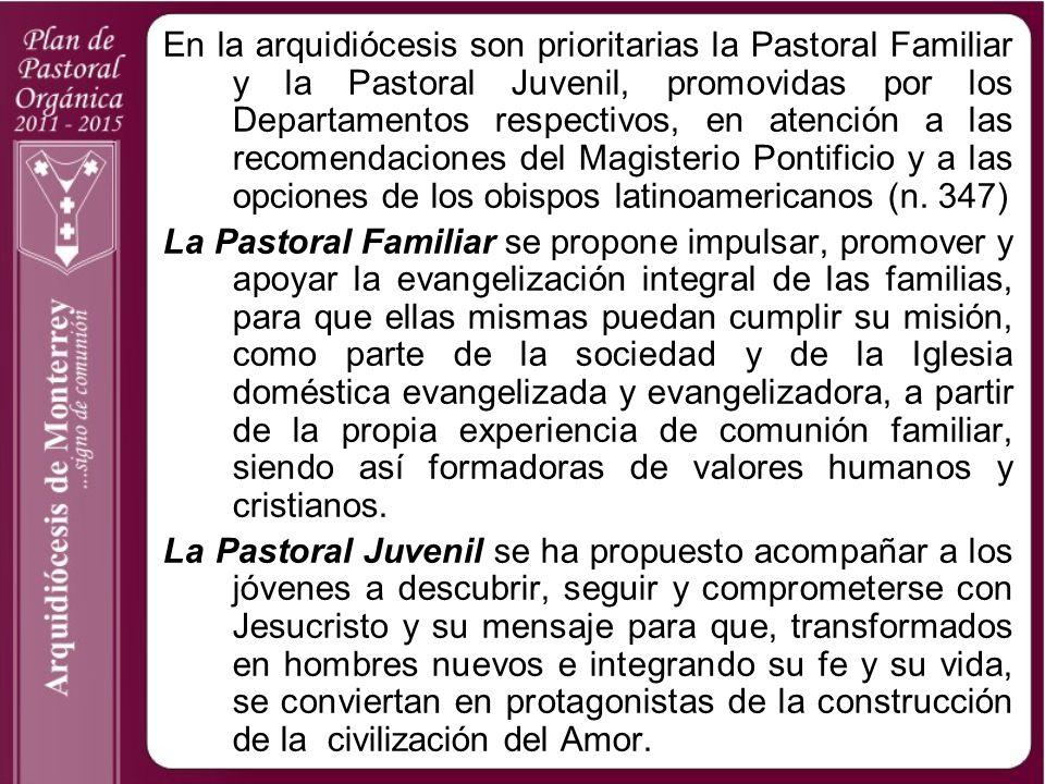 En la arquidiócesis son prioritarias la Pastoral Familiar y la Pastoral Juvenil, promovidas por los Departamentos respectivos, en atención a las recomendaciones del Magisterio Pontificio y a las opciones de los obispos latinoamericanos (n. 347)