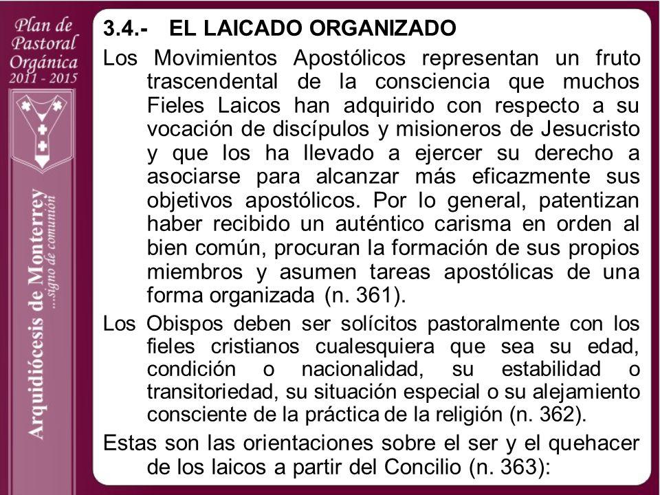 3.4.- EL LAICADO ORGANIZADO