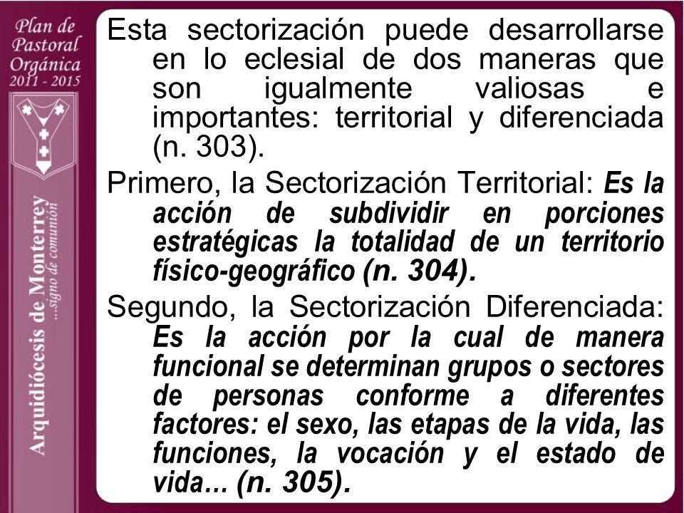 Esta sectorización puede desarrollarse en lo eclesial de dos maneras que son igualmente valiosas e importantes: territorial y diferenciada (n. 303).