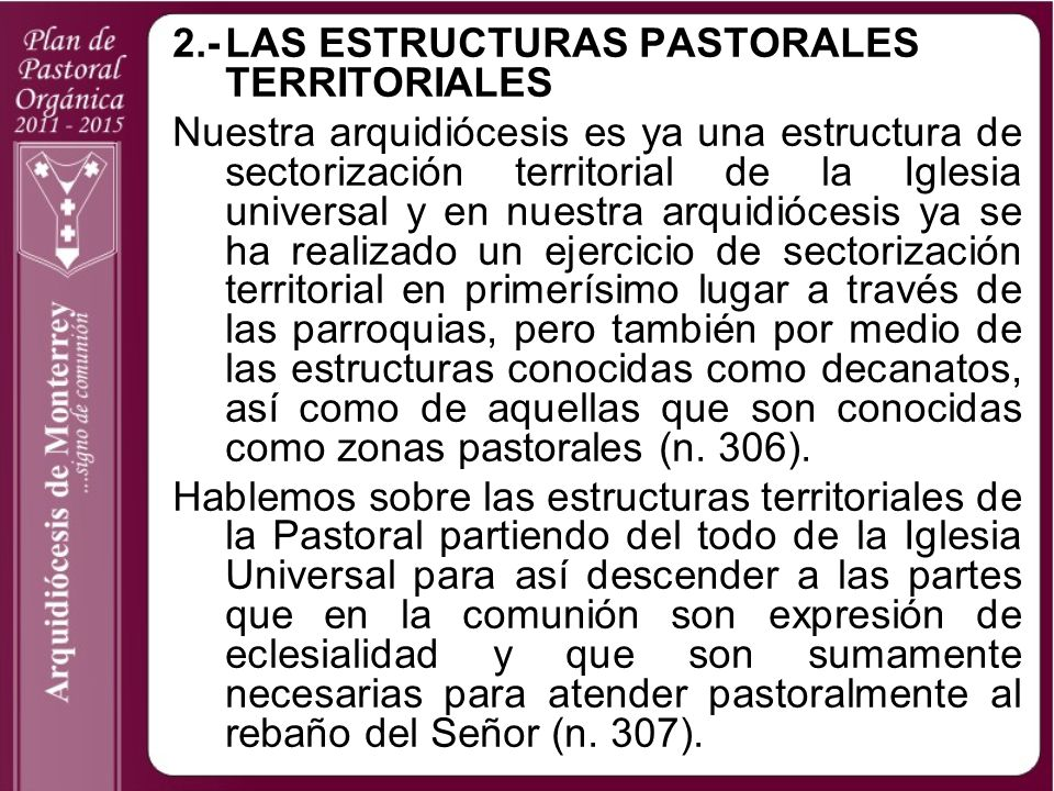 2.- LAS ESTRUCTURAS PASTORALES TERRITORIALES