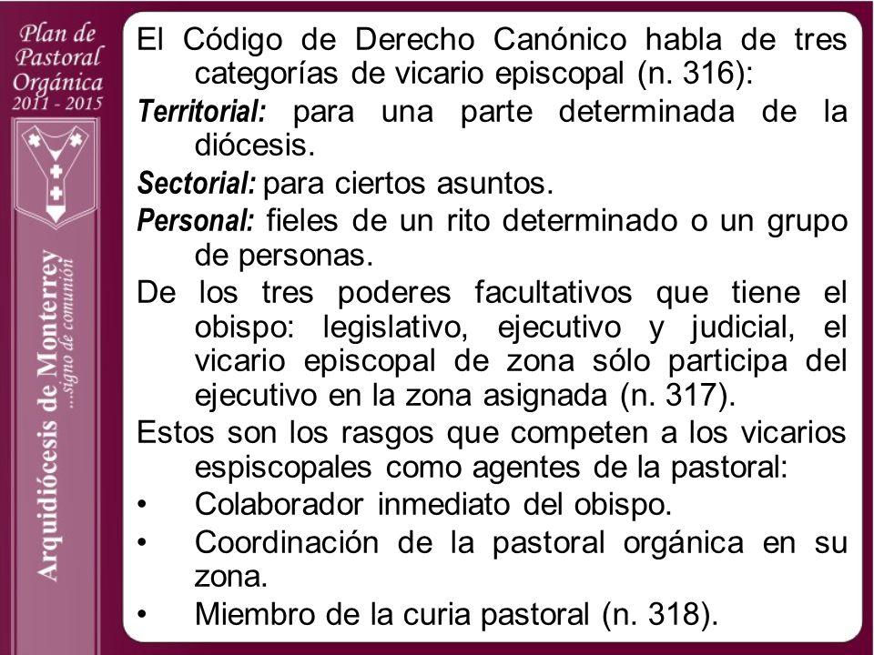El Código de Derecho Canónico habla de tres categorías de vicario episcopal (n. 316):