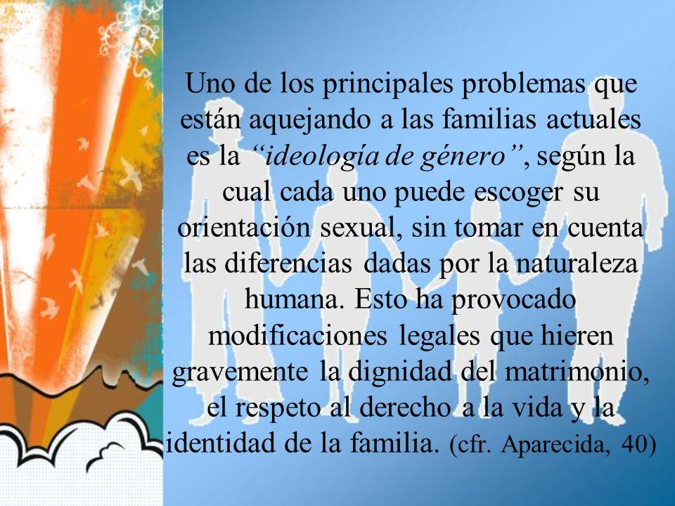 Uno de los principales problemas que están aquejando a las familias actuales es la ideología de género , según la cual cada uno puede escoger su orientación sexual, sin tomar en cuenta las diferencias dadas por la naturaleza humana.