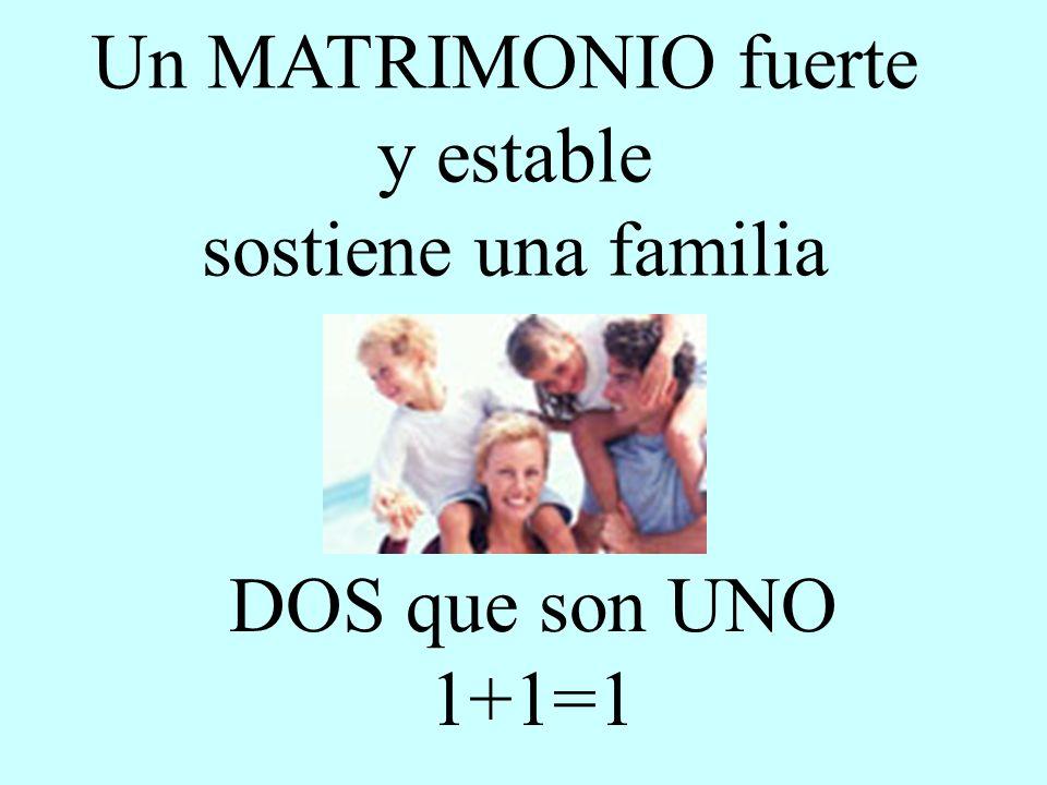 Un MATRIMONIO fuerte y estable sostiene una familia DOS que son UNO 1+1=1