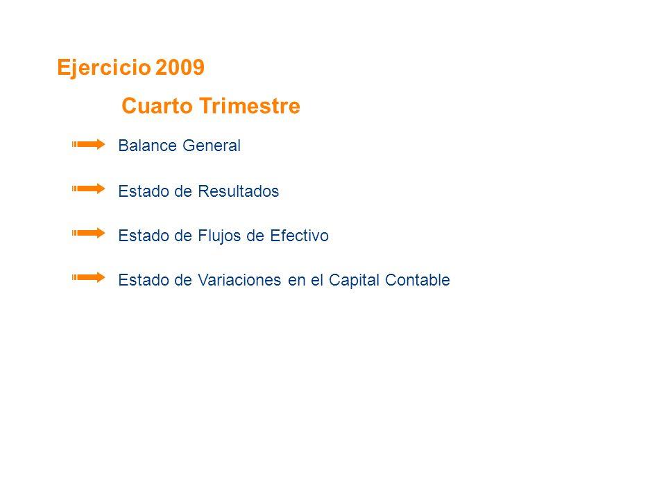 Ejercicio 2009 Cuarto Trimestre Balance General Estado de Resultados