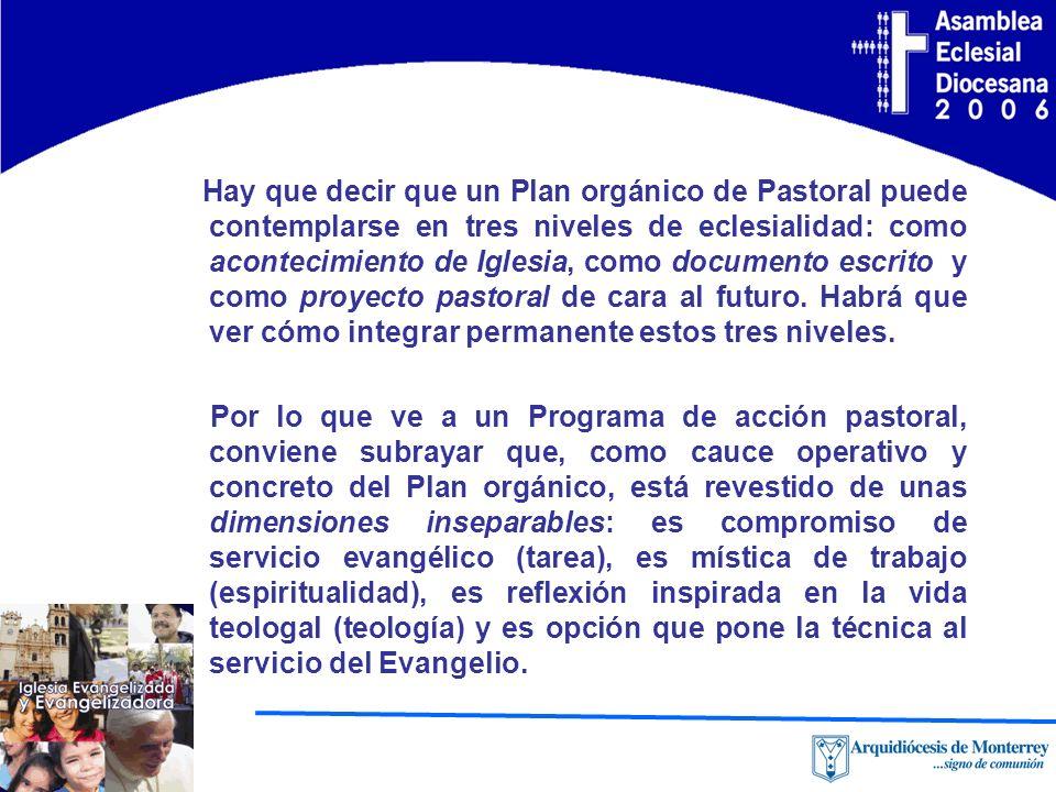 Hay que decir que un Plan orgánico de Pastoral puede contemplarse en tres niveles de eclesialidad: como acontecimiento de Iglesia, como documento escrito y como proyecto pastoral de cara al futuro. Habrá que ver cómo integrar permanente estos tres niveles.