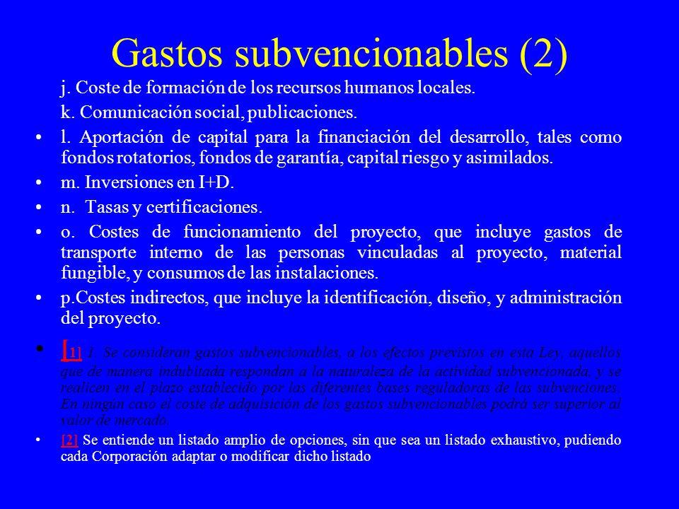 Gastos subvencionables (2)