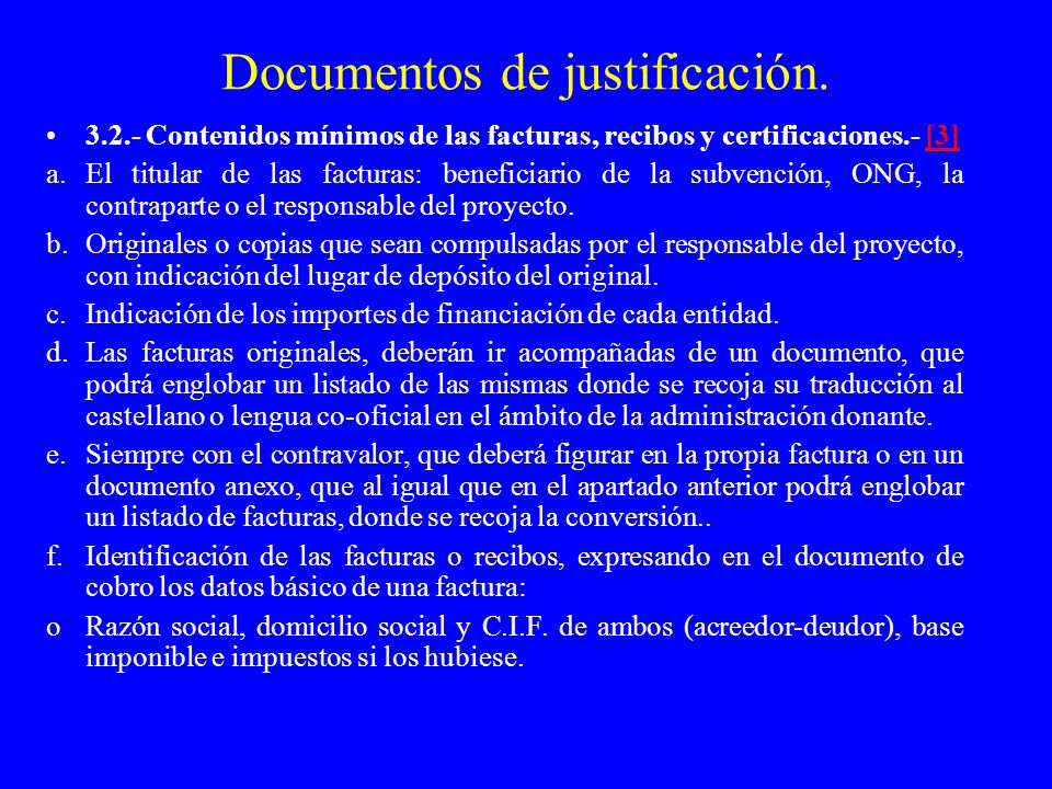 Documentos de justificación.
