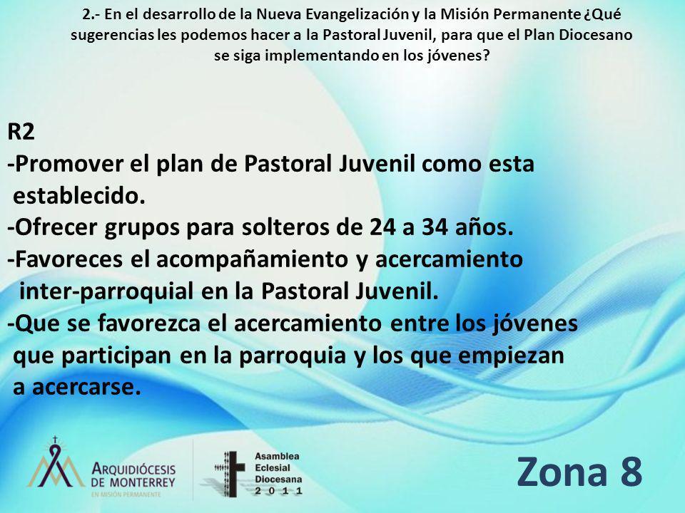 Zona 8 R2 -Promover el plan de Pastoral Juvenil como esta establecido.