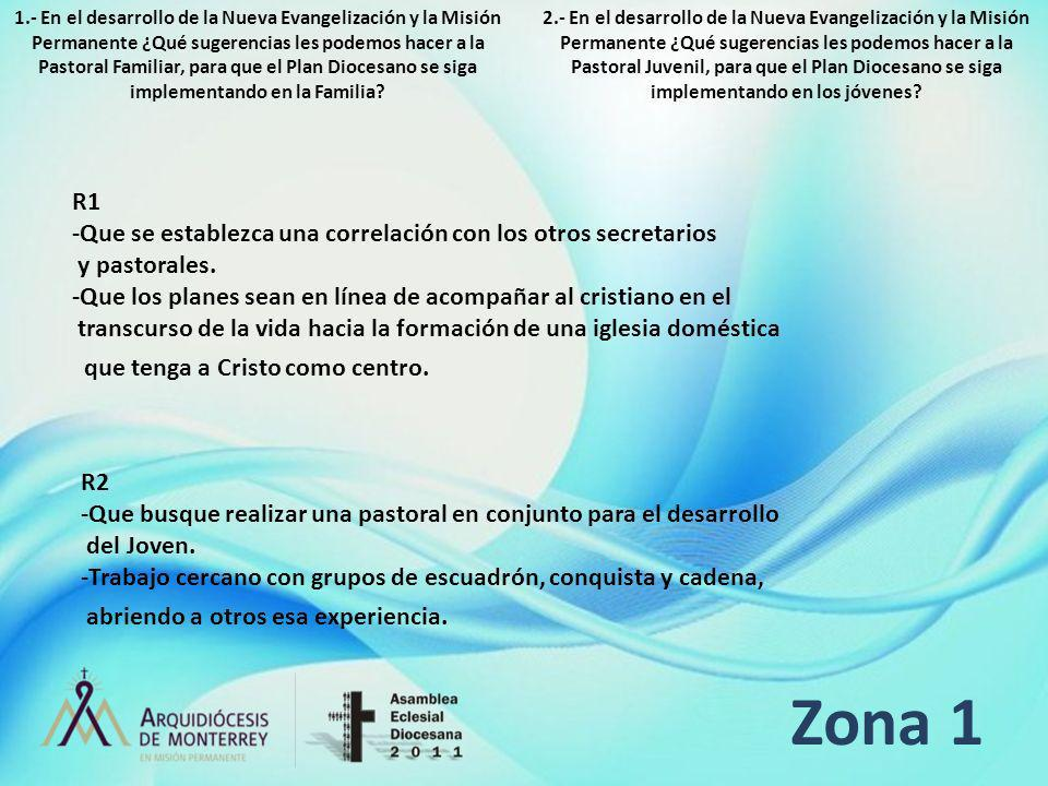 Zona 1 R1 -Que se establezca una correlación con los otros secretarios