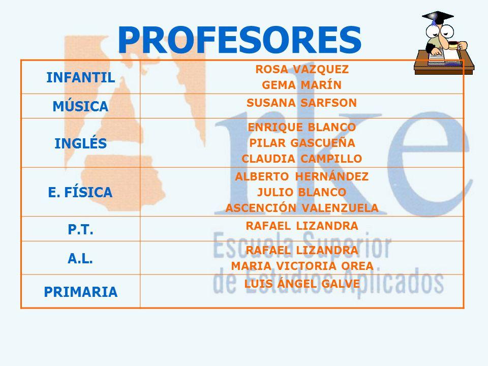 PROFESORES INFANTIL MÚSICA INGLÉS E. FÍSICA P.T. A.L. PRIMARIA