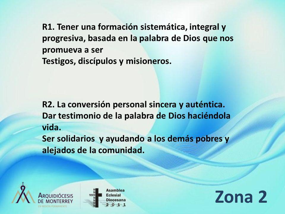 R1. Tener una formación sistemática, integral y progresiva, basada en la palabra de Dios que nos promueva a ser