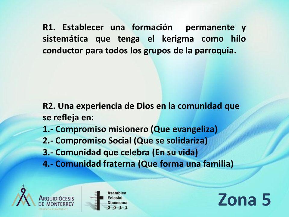 R1. Establecer una formación permanente y sistemática que tenga el kerigma como hilo conductor para todos los grupos de la parroquia.