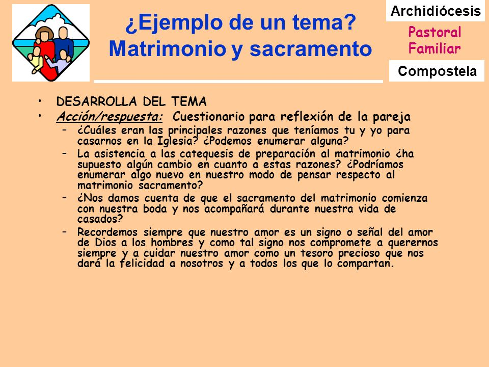 ¿Ejemplo de un tema Matrimonio y sacramento