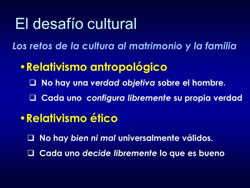 El desafío cultural Relativismo antropológico Relativismo ético