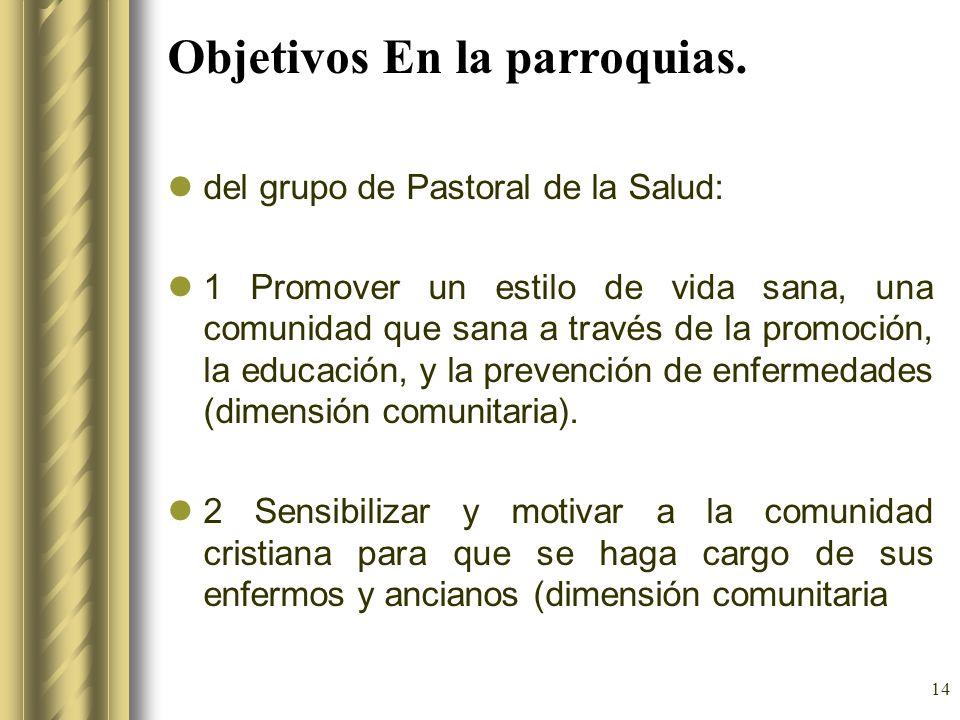 Objetivos En la parroquias.