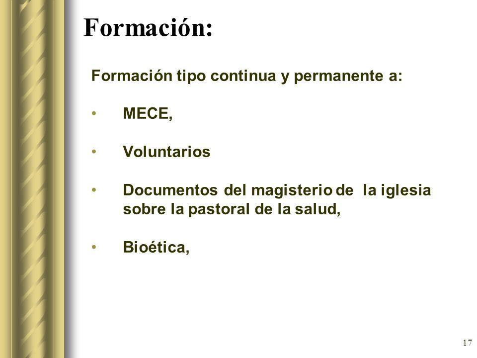 Formación: Formación tipo continua y permanente a: MECE, Voluntarios
