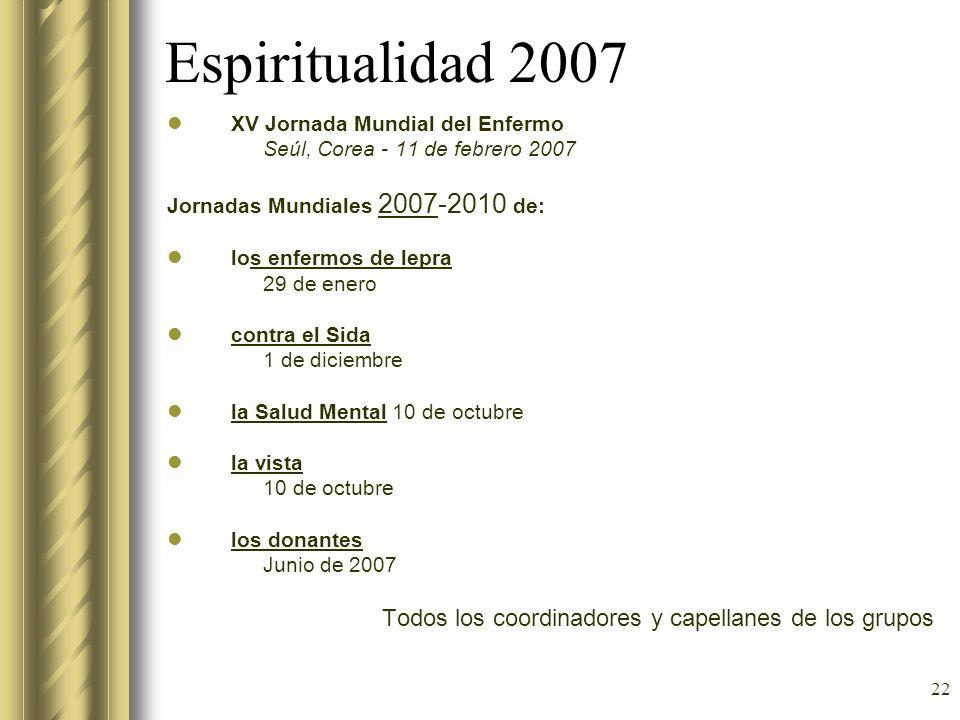 Espiritualidad 2007 Todos los coordinadores y capellanes de los grupos