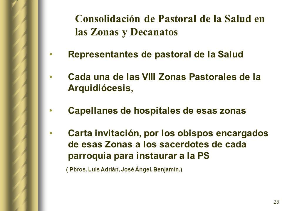 Consolidación de Pastoral de la Salud en las Zonas y Decanatos