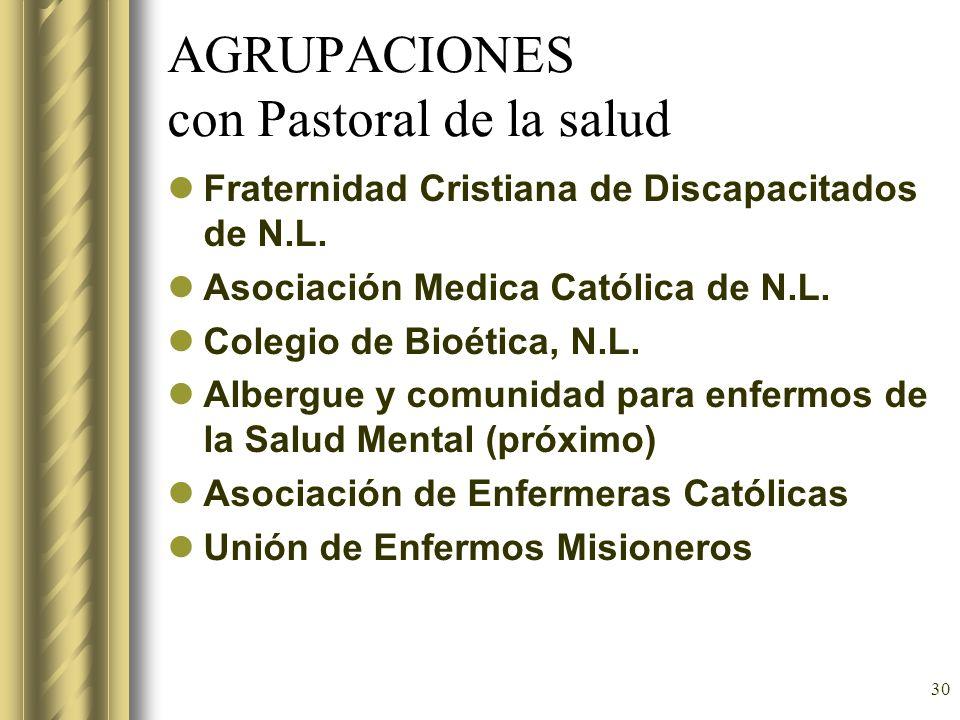 AGRUPACIONES con Pastoral de la salud