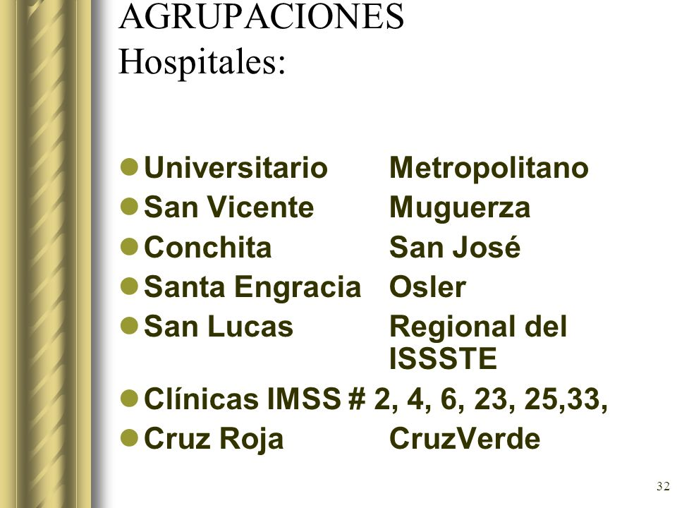 AGRUPACIONES Hospitales: