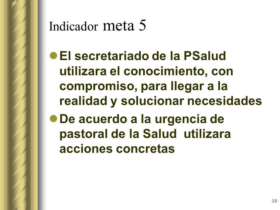 Indicador meta 5 El secretariado de la PSalud utilizara el conocimiento, con compromiso, para llegar a la realidad y solucionar necesidades.