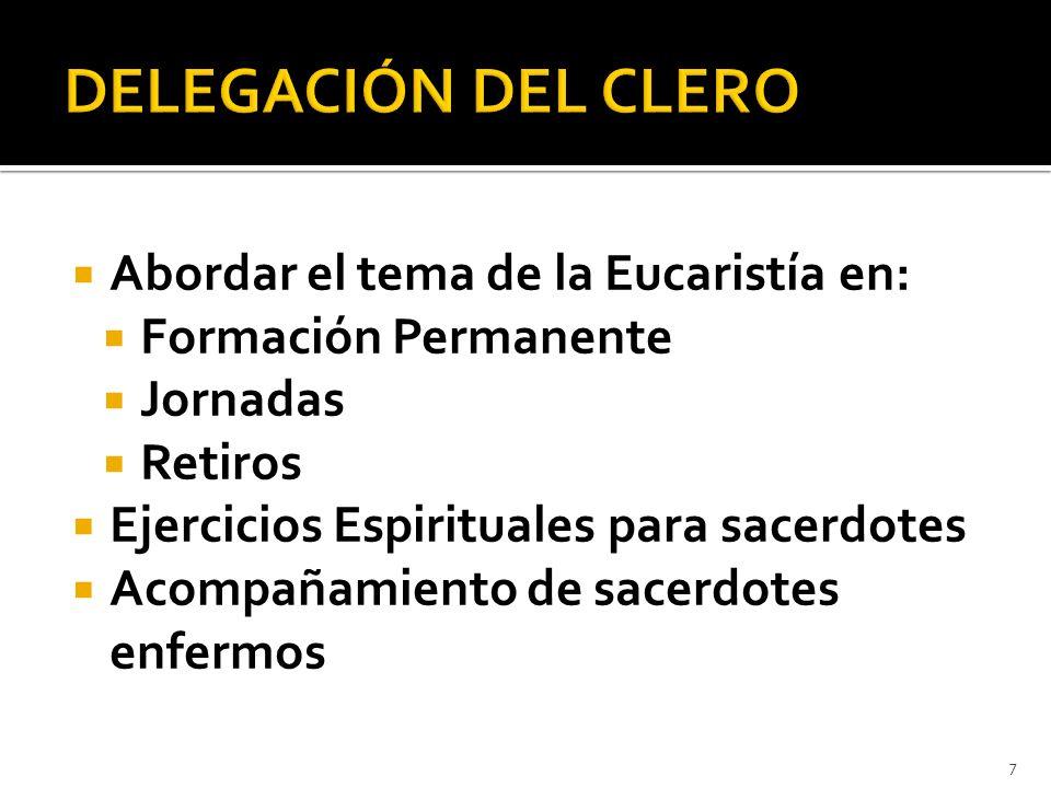 DELEGACIÓN DEL CLERO Abordar el tema de la Eucaristía en: