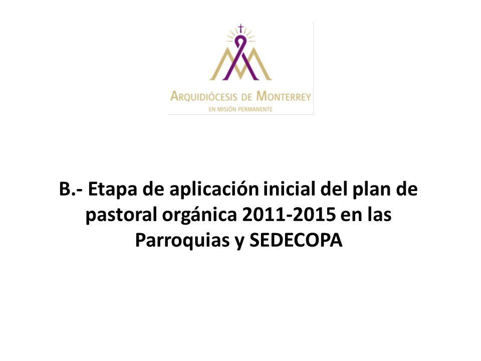 B.- Etapa de aplicación inicial del plan de pastoral orgánica 2011-2015 en las Parroquias y SEDECOPA