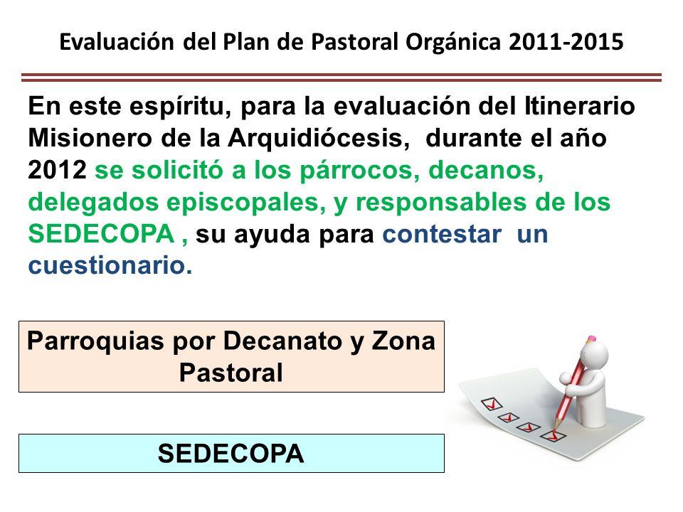 Evaluación del Plan de Pastoral Orgánica 2011-2015
